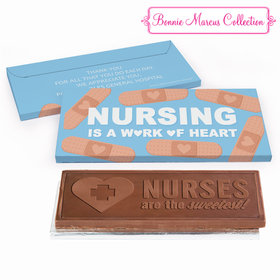 Deluxe Personalized Hearts Nurse Appreciation Embossed Chocolate Bar in Gift Box