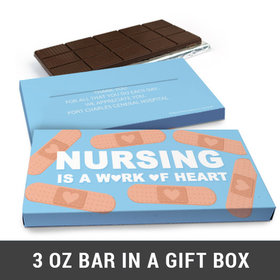 Deluxe Personalized Work of Heart Nurse Appreciation Belgian Chocolate Bar in Gift Box (3oz Bar)