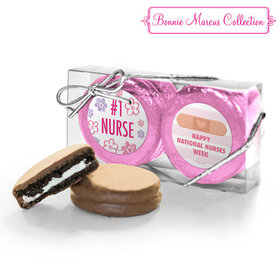 Bonnie Marcus Collection Nurse Appreciation Stripes & Flowers 2PK Chocolate Covered Oreo Cookies