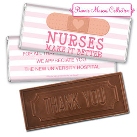 Personalized Bonnie Marcus Collection Nurse Appreciation Stripes Embossed Thank You Chocolate Bar