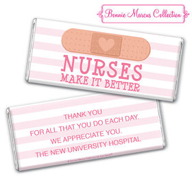 Personalized Bonnie Marcus Collection Nurse Appreciation Stripes Chocolate Bar & Wrapper with Gold Foil