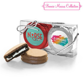 Personalized Nurse Appreciation Add Your Logo Heart Stethoscope 2PK Chocolate Covered Oreo Cookies