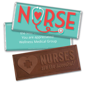 Personalized Bonnie Marcus Collection Nurse Appreciation Red Heart Embossed Nurse Chocolate Bar