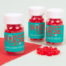 Personalized Bonnie Marcus Nurse Appreciation Heart Stehoscope Pill Bottle with Jelly Beans