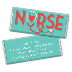 Personalized Bonnie Marcus Collection Nurse Appreciation Red Heart Chocolate Bar & Wrapper