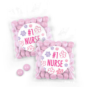 Personalized Nurse Appreciation Flowers Candy Bags with Just Candy Milk Chocolate Minis