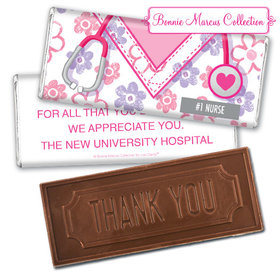 Personalized Bonnie Marcus Collection Nurse Appreciation Flowers Embossed Thank You Chocolate Bar