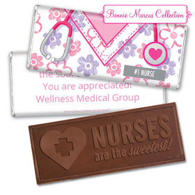 Personalized Bonnie Marcus Collection Nurse Appreciation Flowers Embossed Nurse Chocolate Bar