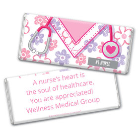 Personalized Bonnie Marcus Collection Nurse Appreciation Flowers Chocolate Bar Wrappers
