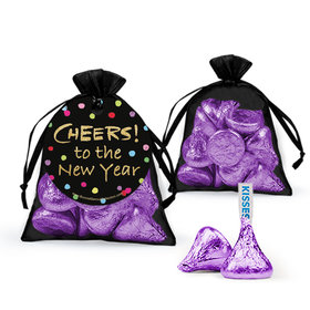 Bonnie Marcus New Year's Eve Cheery Rainbow Dots Hershey's Kisses in Organza Bags with Gift Tag