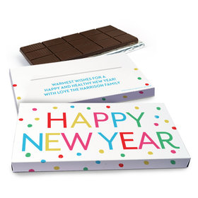 Deluxe Personalized New Year's Dazzling Dotz Chocolate Bar in Gift Box (3oz Bar)