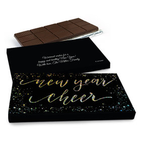 Deluxe Personalized New Year's Eve Cheer Chocolate Bar in Metallic Gift Box (3oz Bar)
