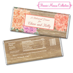 Bonnie Marcus Collection Personalized Chocolate Bar Chocolate and Wrapper Blooming Joy Rehearsal Dinner Favor