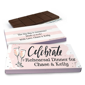 Deluxe Personalized The Bubbly Rehearsal Dinner Chocolate Bar in Gift Box