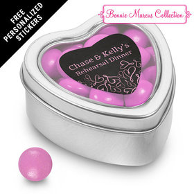 Bonnie Marcus Collection Personalized Small Heart Tin Sweetheart Swirl Rehearsal Dinner (25 Pack)