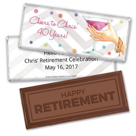 Personalized Bonnie Marcus Collection Embossed Happy Retirement Chocolate Bar Chocolate Here's to You Retirement Favors