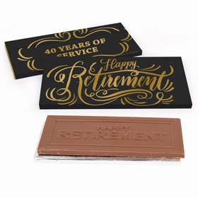 Deluxe Personalized Script Retirement Chocolate Bar in Metallic Gift Box