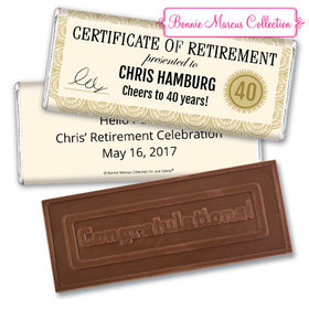 Personalized Bonnie Marcus Collection Retirement Certificate Assembled Embossed Congratulations Chocolate Bar