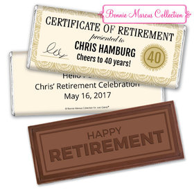 Personalized Bonnie Marcus Collection Retirement Certificate Assembled Embossed Happy Retirement Chocolate Bar