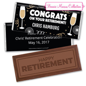 Personalized Bonnie Marcus Collection Retirement Cheers Assembled Embossed Happy Retirement Chocolate Bar