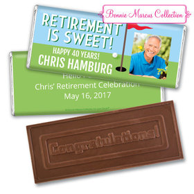 Personalized Bonnie Marcus Collection Retirement Gone Golfin' Assembled Embossed Congratulations Chocolate Bar