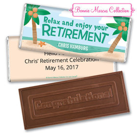 Personalized Bonnie Marcus Collection Retirement Beach Assembled Embossed Congratulations Chocolate Bar