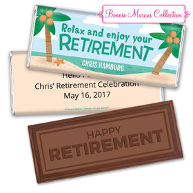 Personalized Bonnie Marcus Collection Retirement Beach Assembled Embossed Happy Retirement Chocolate Bar