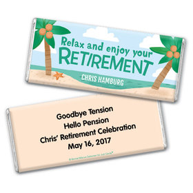 Personalized Bonnie Marcus Collection Retirement Beach Chocolate Bar Wrapper Only