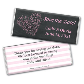 Sweetheart Swirl Save the Date Personalized Candy Bar - Wrapper Only