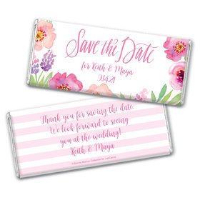 Floral Embrace Save the Date Favors Personalized Candy Bar - Wrapper Only
