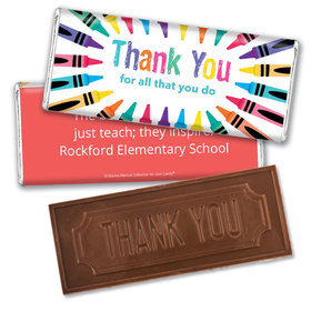 Personalized Teacher Appreciation Colorful Thank You Assembled Embossed Chocolate Bar
