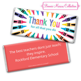 Personalized Teacher Appreciation Colorful Thank You Assembled Chocolate Bar