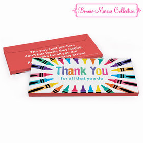 Deluxe Personalized Colorful Thank You Teacher Appreciation Chocolate Bar in Gift Box