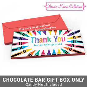Deluxe Personalized Colorful Thank You Teacher Appreciation Candy Bar Favor Box