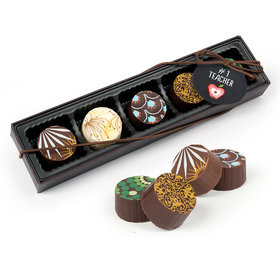 Bonnie Marcus Teacher Appreciation Apple Gourmet Chocolate Truffle Gift Box (5 Truffles)