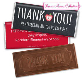 Personalized Teacher Appreciation Apple Assembled Embossed Chocolate Bar