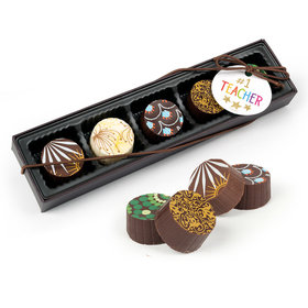 Bonnie Marcus Teacher Appreciation Gold Star Gourmet Chocolate Truffle Gift Box (5 Truffles)