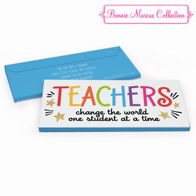 Deluxe Personalized Gold Star Teacher Appreciation Chocolate Bar in Gift Box