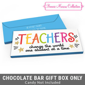 Deluxe Personalized Gold Star Teacher Appreciation Candy Bar Favor Box