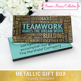 Deluxe Personalized Word Cloud Teamwork Chocolate Bar in Metallic Gift Box