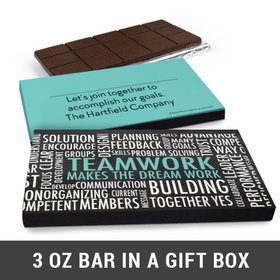 Deluxe Personalized Teamwork Word Cloud Business Belgian Chocolate Bar in Gift Box (3oz Bar)