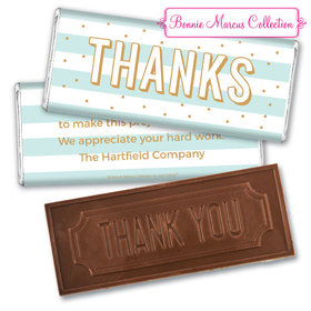 Personalized Bonnie Marcus Stripes and Dots Thank You Embossed Chocolate Bar