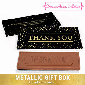 Deluxe Personalized Gold Dots Thank You Chocolate Bar in Metallic Gift Box