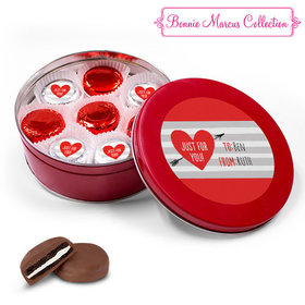 Personalized Valentine's Day Stripes Red Tin with 16 Chocolate Covered Oreo Cookies