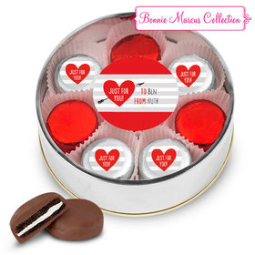 Personalized Valentine's Day Stripes Silver Extra Large Plastic Tin - 16 Belgian Chocolate Covered Oreo Cookies