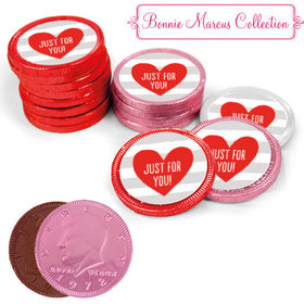 Bonnie Marcus Collection Valentine's Day Stripes Milk Chocolate Red, Pink and White Coins with Stickers (84 Pack)
