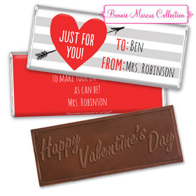 Personalized Valentine's Day Heart and Stripes Embossed Chocolate Bar & Wrapper