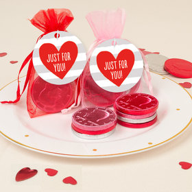 Valentine's Day Heart Stripes Chocolate Coins in XS Organza Bags with Gift Tag