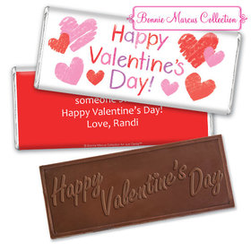 Personalized Valentine's Day Red and Pink Hearts Embossed Chocolate Bar & Wrapper