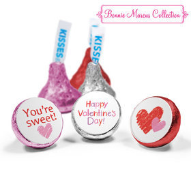 Personalized Valentine's Day Red and Pink Hearts Love Mix Hershey's Kisses Assembled (50 Pack)